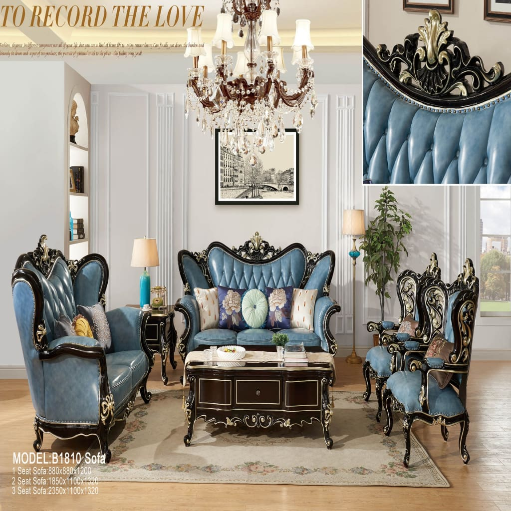 Royal Antique Blue Wooden Leather Sofa