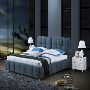 Somme Button Tufted Linen Upholstered Bed with Nightstand - Bed