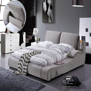 Sophisticated Upholstered Panel Bed with Nightstand - Bed