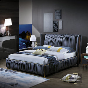 Stern Upholstered Panel Bed with Nightstand - Bed