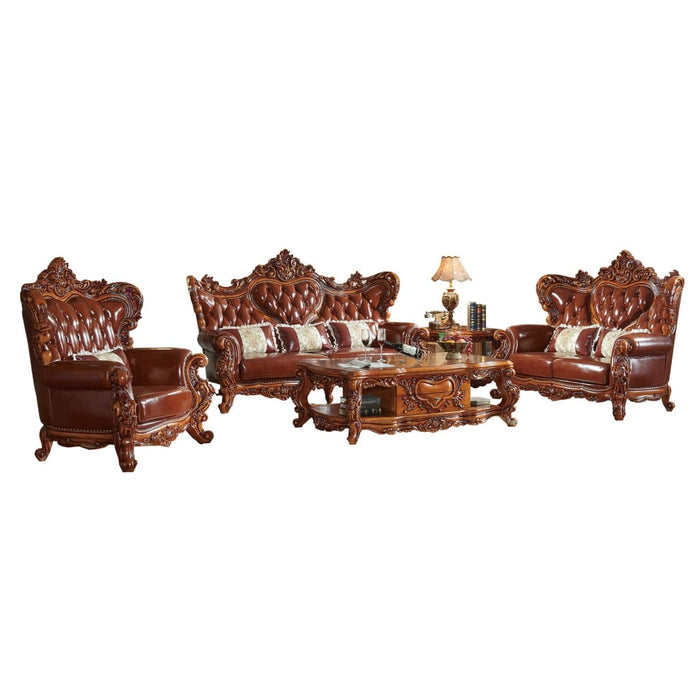 Traditional King Tufted Upholstered leather sofa set