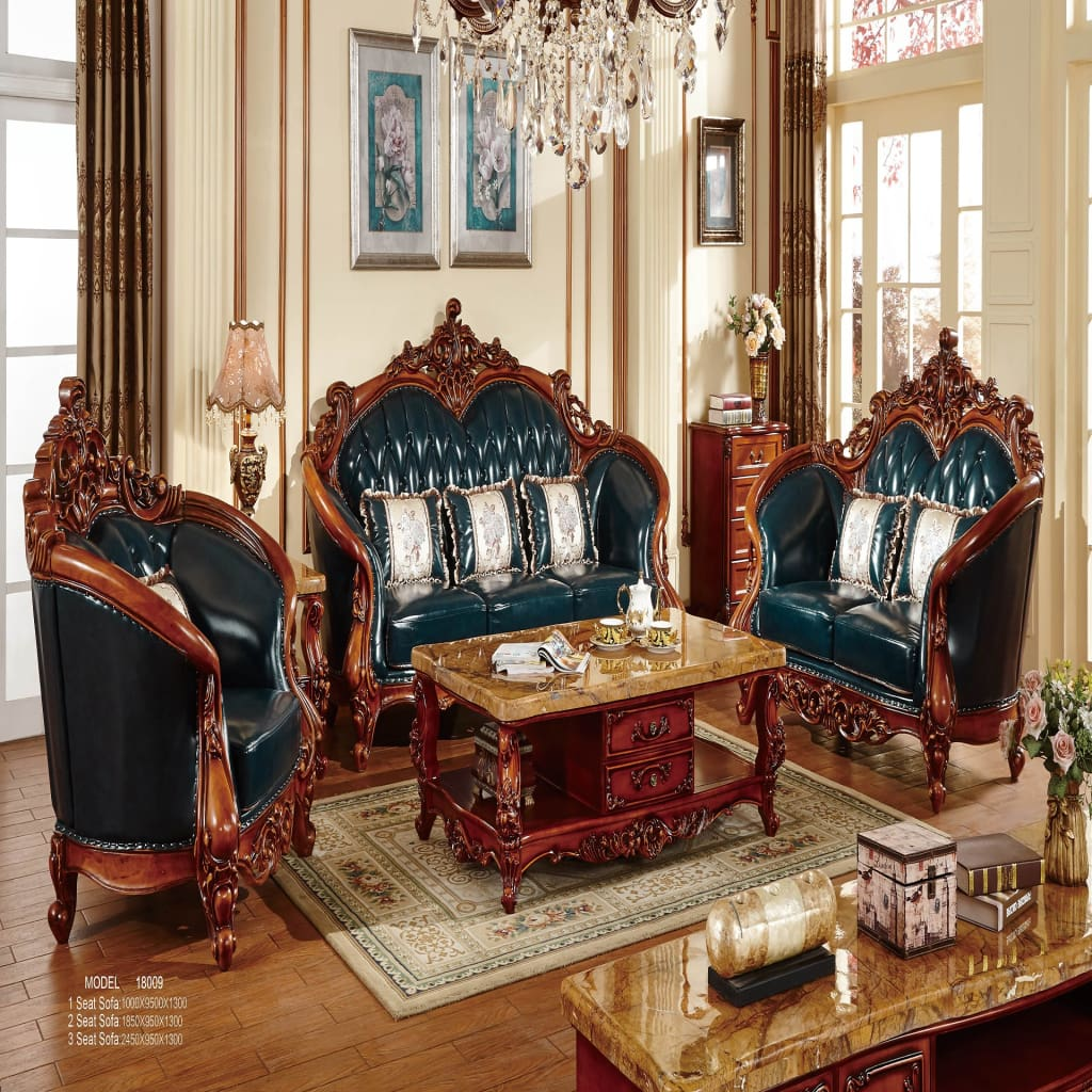 Traditional King Upholstered leather sofa set II