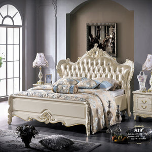 Traditional Upholstered Bed Frame with Nightstand - Bed