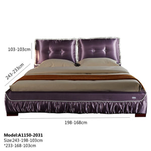 Upholstered Satin Fabric Bed - Bed
