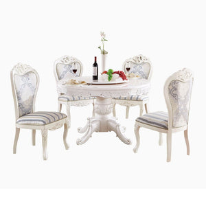 White Royal Style Round Dining Set - Dining Table