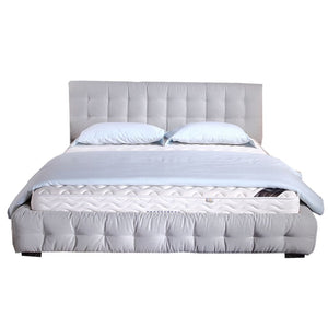 White Tufted Upholstered Queen-size Bed - Bed