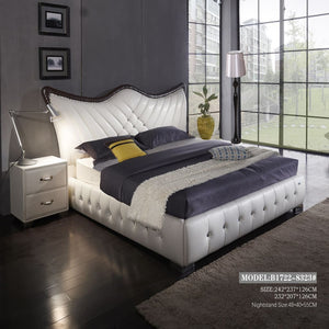 Wing Bed Tufted Upholstered Headboard Bed - bed