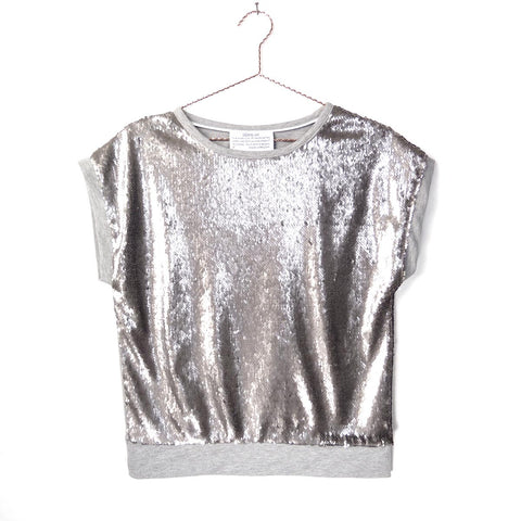 Dallas silver sequin top