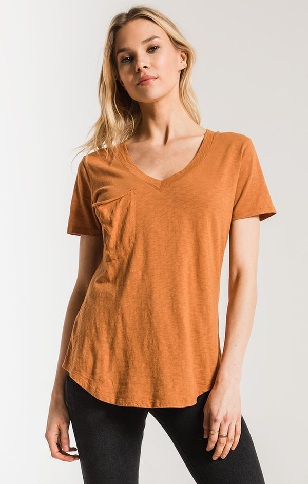 The Cotton Slub Pocket Tee in Wood