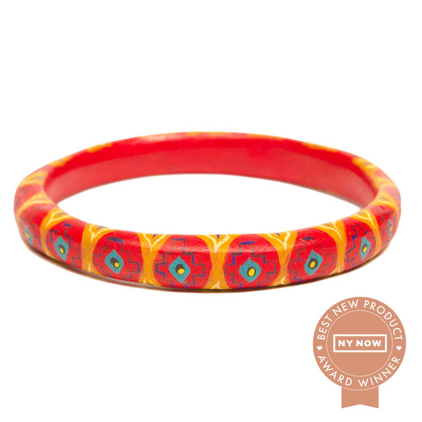 Corazon Wooden Bangle Living Coral