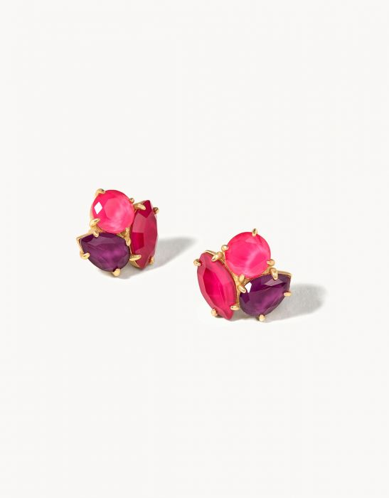 Cocktail Stud Earrings Merlot