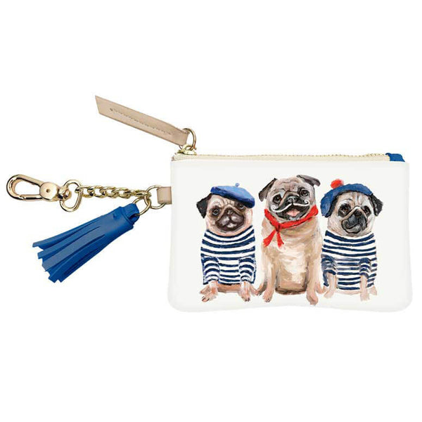 3 French Pugs Key Pouch