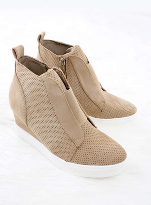 Zoey Oatmeal Wedge Sneakers