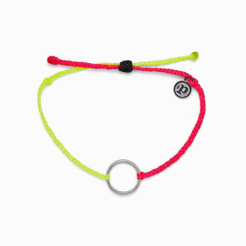 2 Tone Full Circle Silver Bracelet Neon Yellow and Pink