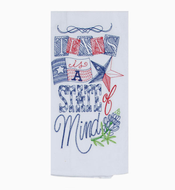Texas State of Mind Embroidered Flour Sack Tea Towel