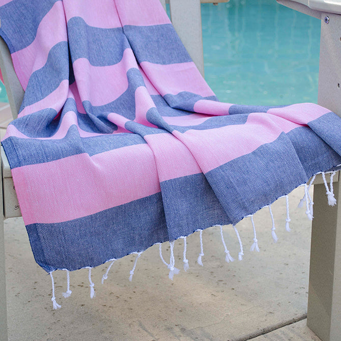 Boreas Turkish Towel Pink & Navy