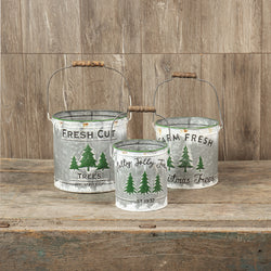 Wood Handle Tree Pails
