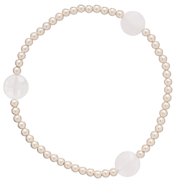 Seasons Pattern 3mm Bead Bracelet Rose Quartz