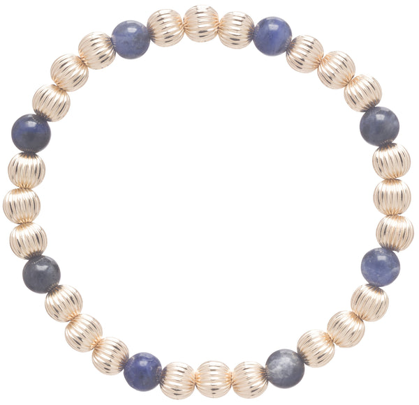 Dignity Gold Sincerity Pattern 5mm Bead Bracelet Sodalite