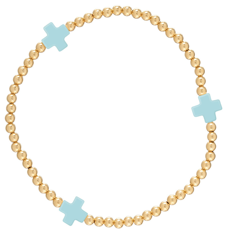 Signature Cross Gold Pattern Bracelet Turquoise
