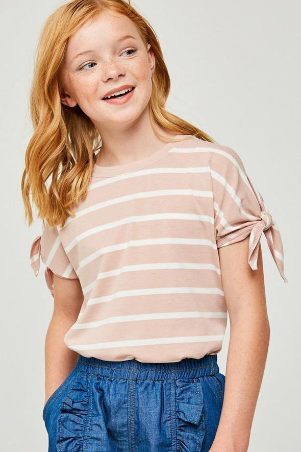 Stripe Tie-Sleeve Top