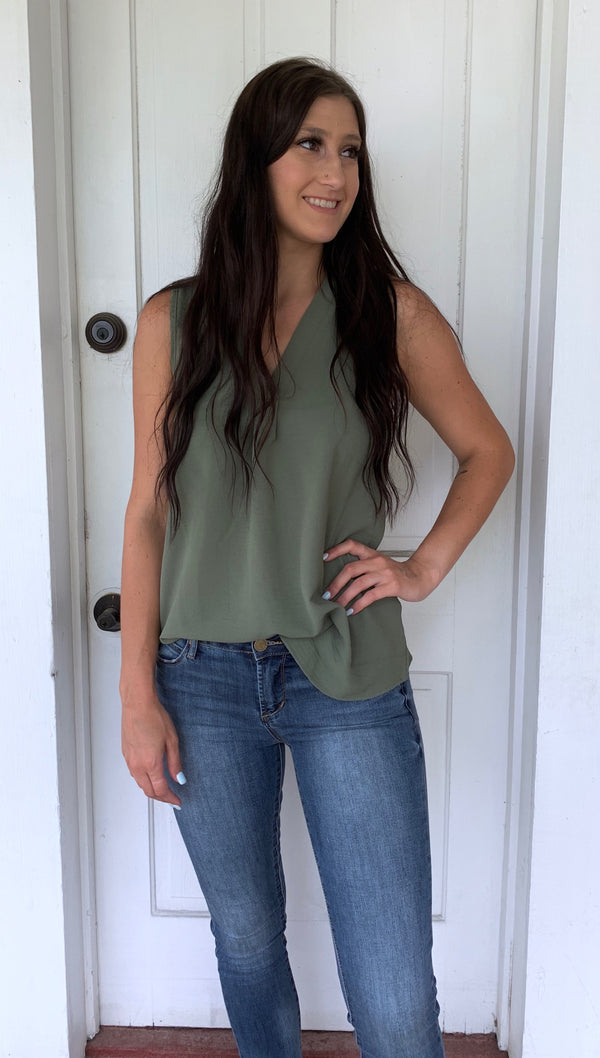 Loose Fit Tank in Olive