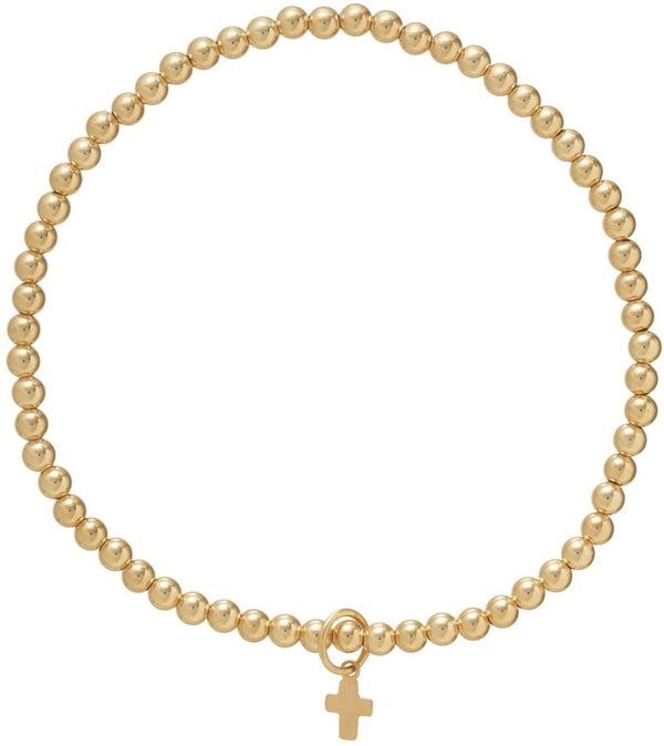 Classic Gold 3mm Bead Bracelet Believe Charm