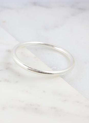 Avera Worn Silver Metal Bangle