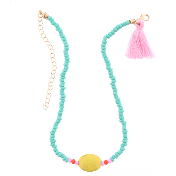 Blue and Yellow Kids Necklace