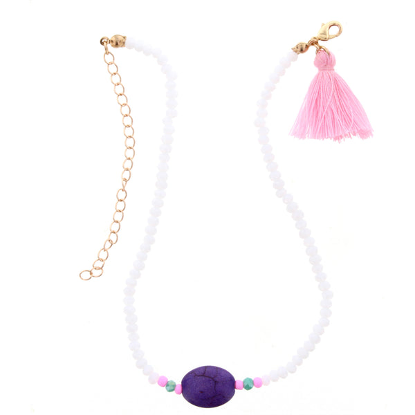 White and Purple Kids Necklace