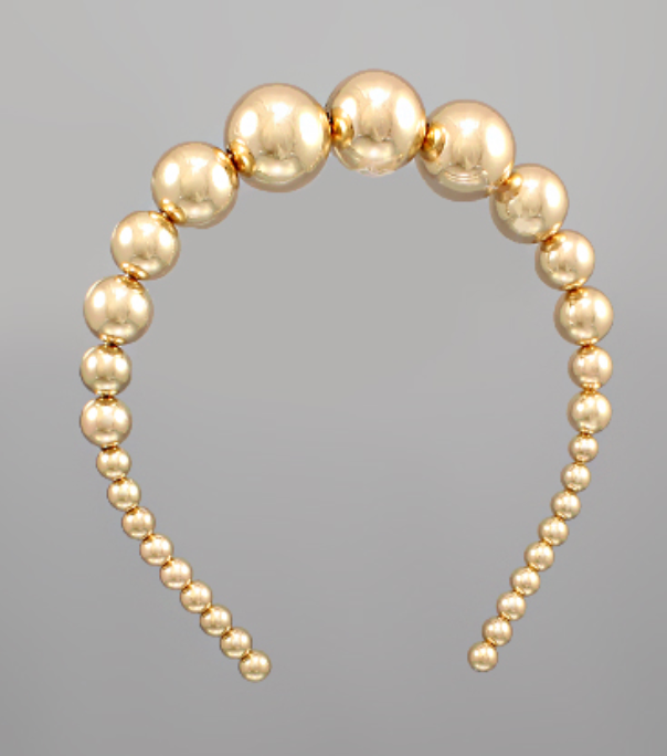 Gradual Metal Ball Headband Gold