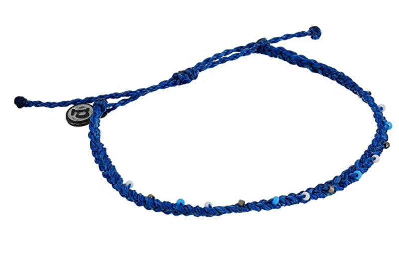 Mini Braid & Bead Anklet Marine Blue