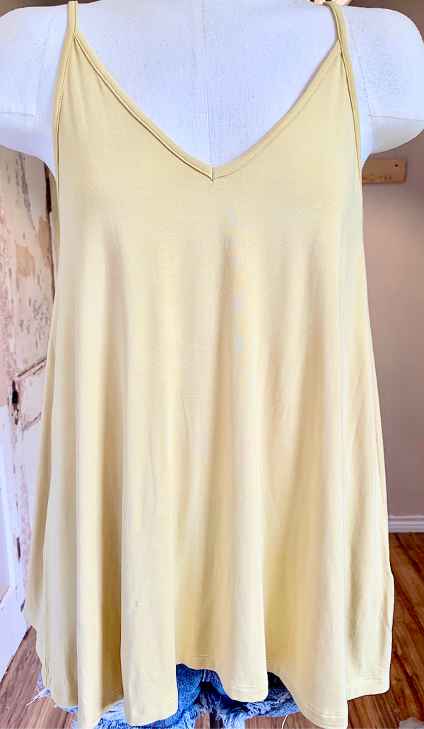 Bamboo Fabric Trapeze Tank Top in Light Mustard
