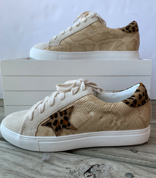Leopard Star with Gold Snake Sneakers