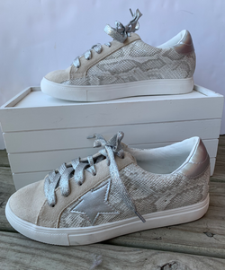 Metallic Snake Low Top Sneaker Glitter Lace up Strap