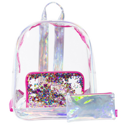 Clear Confetti Backpack with Pencil Pouch