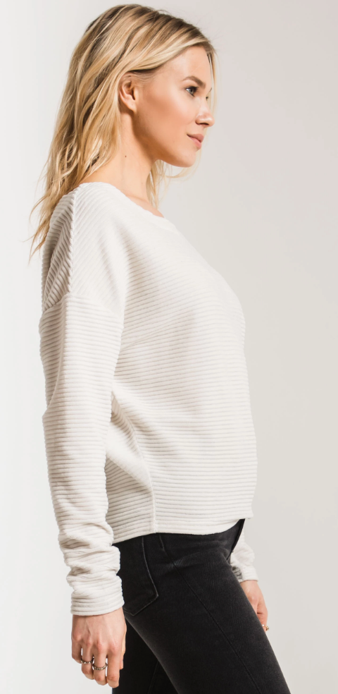 The Wide Wale Cord Boat Neck Pullover Champagne