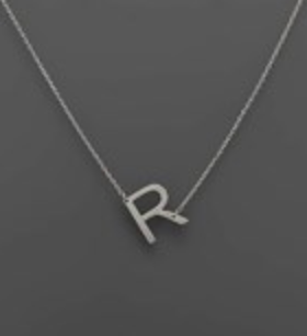 Initial Rhodium Necklace R