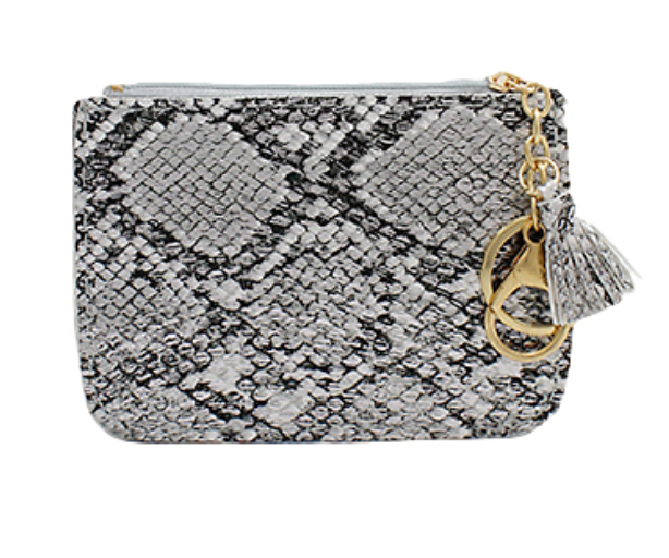 Snake Skin Coin Purse Gray