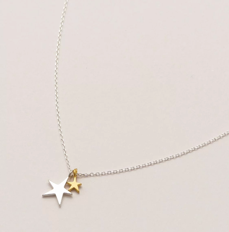 Two Tone Double Star Necklace Silver