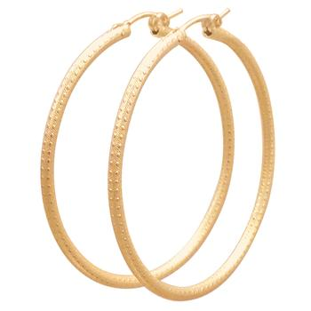 Round Gold Textured Hoop Small