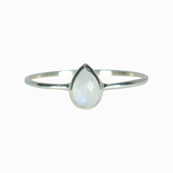 Moonstone Teardrop Ring Silver