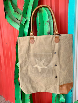 Worn Tan Canvas Tote Bag