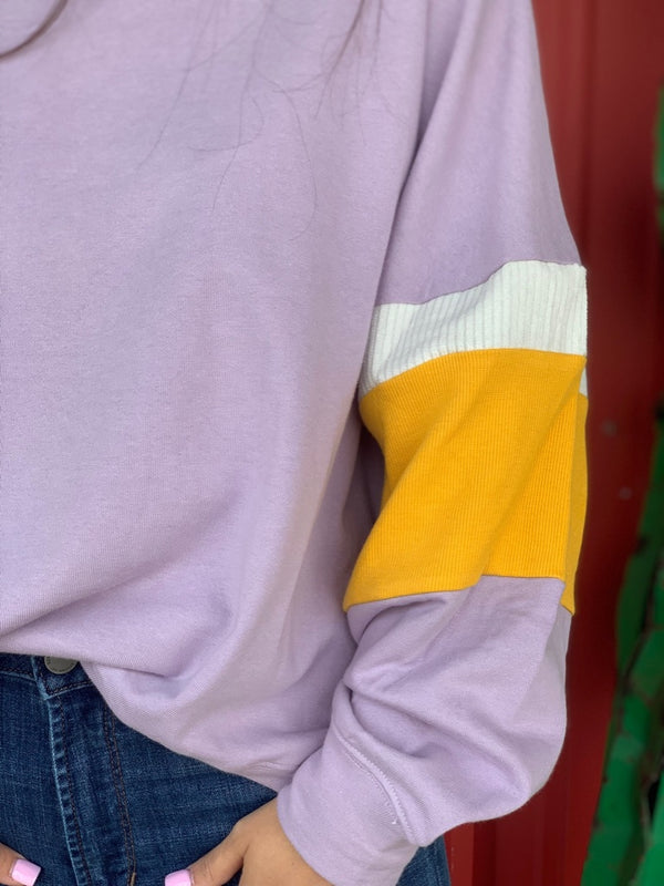 Lilac Color Block Sweater