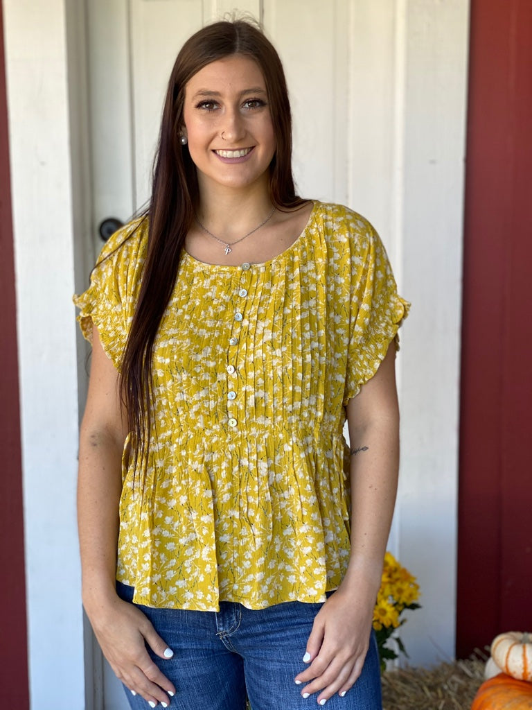 Mustard Pleated Front Top
