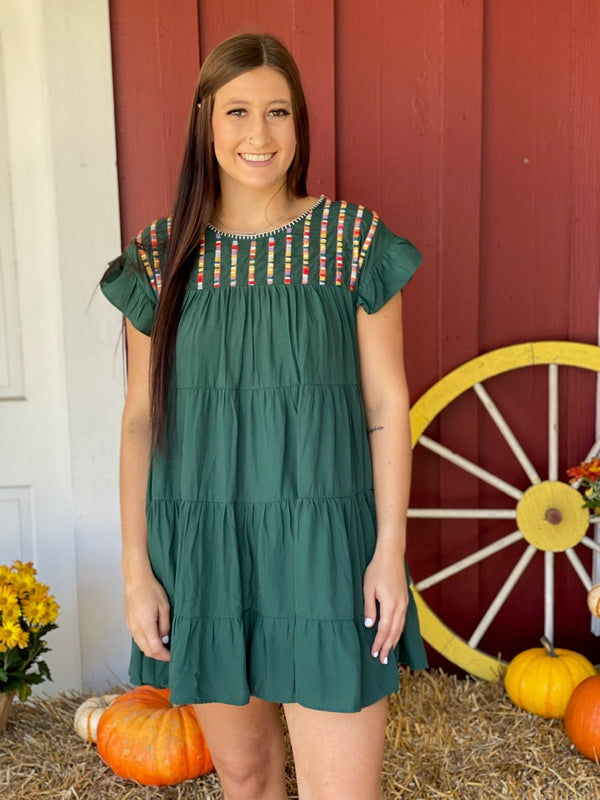 Embroidered Tiered Hunter Green Dress