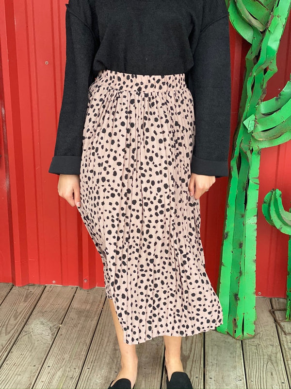 Dots Print Pleated Skirt