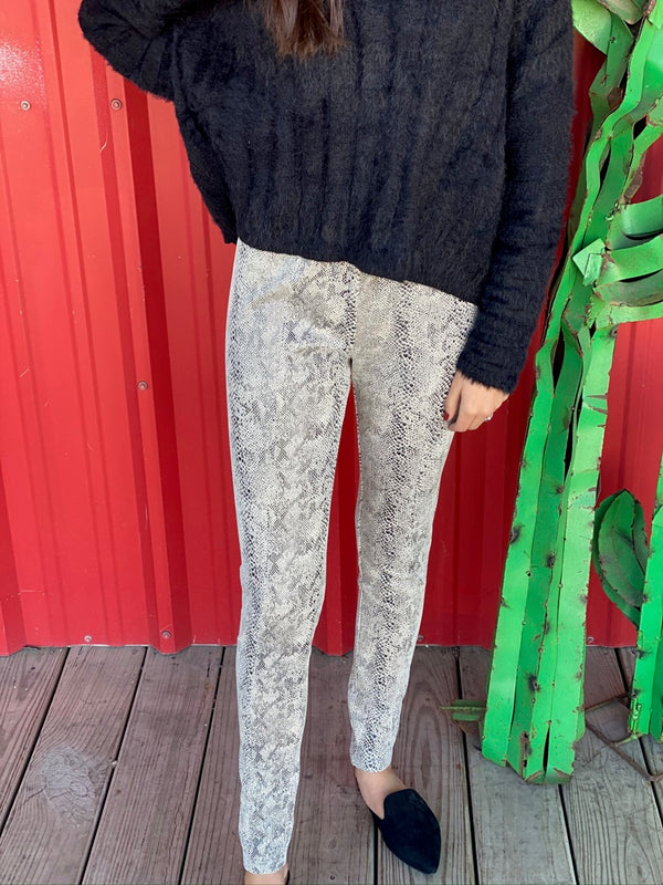 Snake Print Cream Leggings