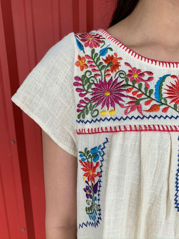 Embroidered T Shirt Dress Natural