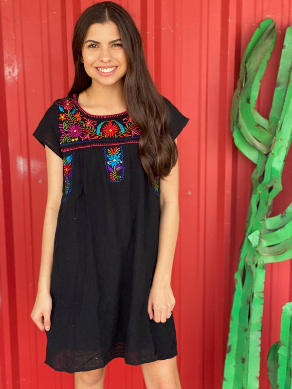 Embroidered T Shirt Dress Black